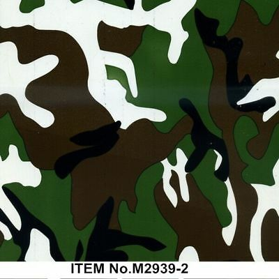 Green brown camo hydrographic film hydro dipped 100cm width and various lengths