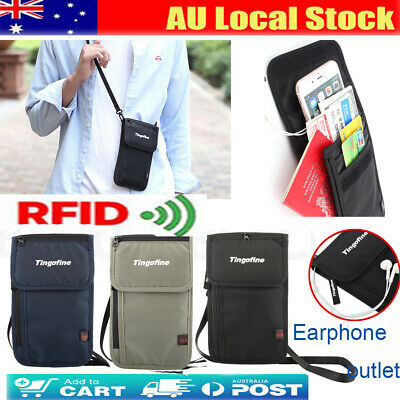 Travel Wallet Passport Holder RFID Block Earphone Outlet Pouch Money Cards Bag
