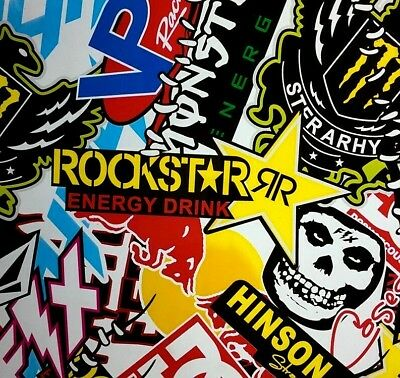 Rockstar sticker bomb hydrographic film hydro dipped 50cm width, various lengths