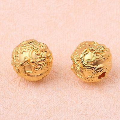1pcs New Pure 999 24K Yellow Gold Women's 3D Dragon Bead Pendant 2-2.5g
