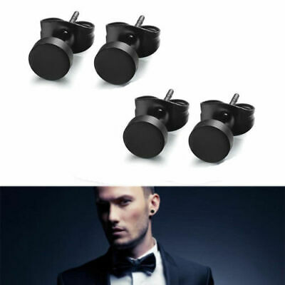 Pair Black Stud Flat Round Barbell Earrings Plug Gym Mens Mm 316 Stainless Steel