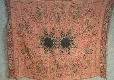 "Vintage Antique PAISLEY FRENCH SHAWL perfect STEAMPUNK FESTIVAL 5FT 7"" X 4FT 5"""