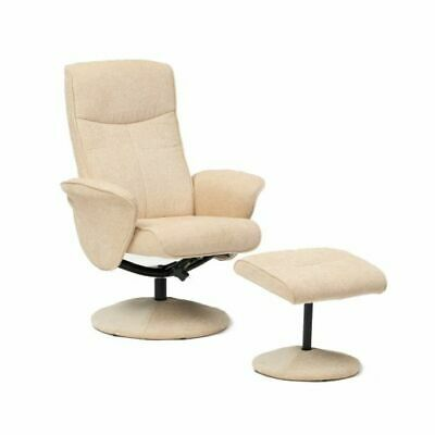 Falkirk Swivel Soft Fabric Recliner Chair Reclining Armchair and Footstool