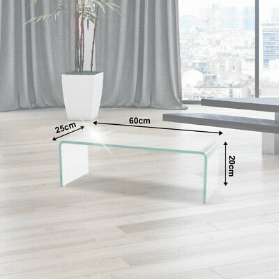 Tv Table Monitor Attachment Tv Shelf Curved Glass Table High Gloss Polished New