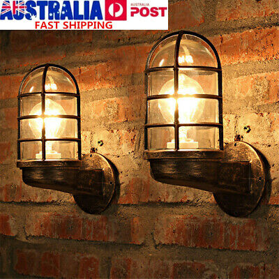 Vintage Metal Wall Light Sconce Black Cage Glass Industrial Warehouse Barn Porch