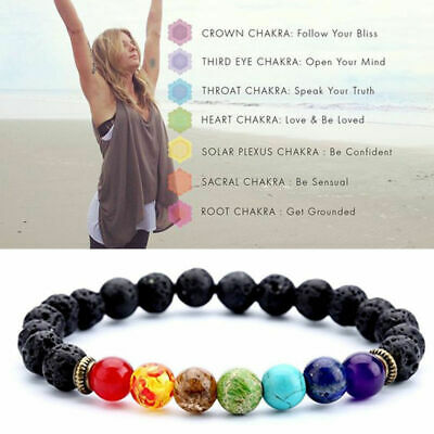 1pc Unisex 7 Chakra Healing Beaded Natural Lava Stone Diffuser Bracelet Jewelry