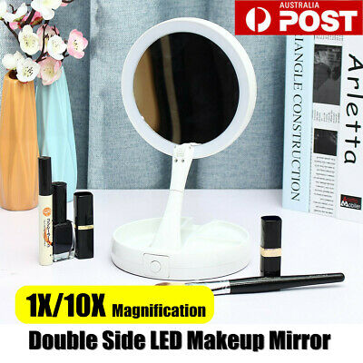10X Double Side Makeup Mirror Magnifying Bathroom Mirror Beauty with LED Light