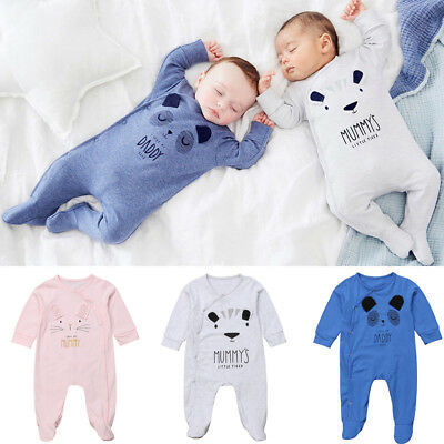 US Newborn Baby Boy Girls Bear Cotton Romper Jumpsuit Bodysuit Outfit Clothes