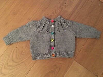 New Hand Knitted Girls Lacy Grey Cardigan With Snowflake Buttons Size 6-12 Month