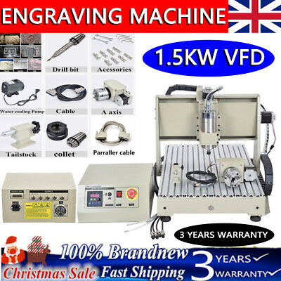 CNC Engraver 4 Axis 6040 1500W VFD 3D Router Engraving Milling Machine PCB MILL