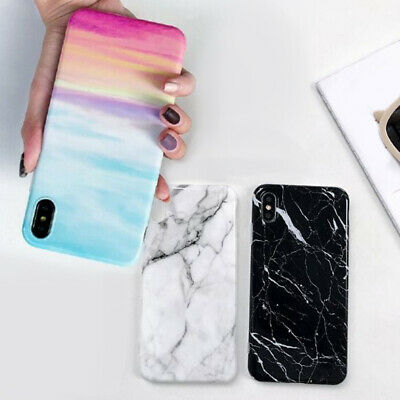 Pastel Marble Pattern Cover Case Soft Shockproof For iPhone X 6 8 7 Plus 5 Max A