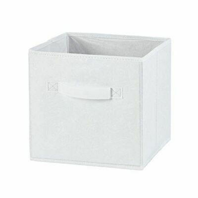 H & L Russel Small White Embossed Folding Storage Box 20x20x20cm Fabric Wardrobe