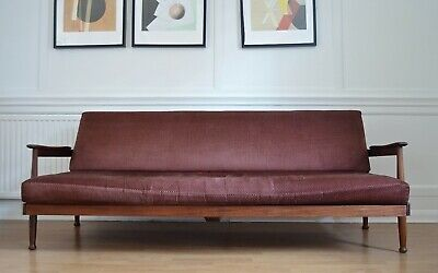 Vintage Midcentury Guy Rogers Manhattan Afromosia Daybed / Sofa Bed. Delivery.