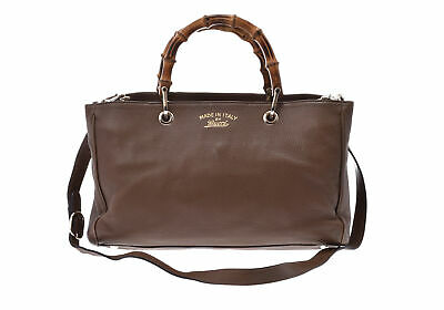 7909c0c35f2 Authentic Gucci Bamboo 2way Bag Bamboo Bag Brown 800000071400000
