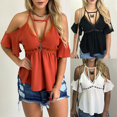 New Women V Neck Off Shoulder Blouse Tops Summer Backless Casual Chiffon Shirts