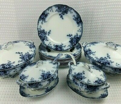 Antique Alfred Meakin Harvard Flow Blue Semi Porcelain Dinner Set Items c1900