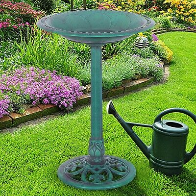 Outdoor Patio Antique Pedestal Bird Bath Feeder Standing Green Yard Lawn Machine