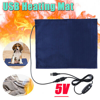AU USB Electric Heater Pet Dog Cat Heating Pad Warmer Mat Blanket Thermal Timing