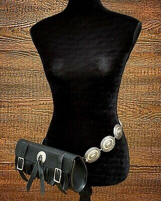 HANDCRAFTED Vintage 80s Black Spanish Leather BOHO Conchos Festival Fanny Pack