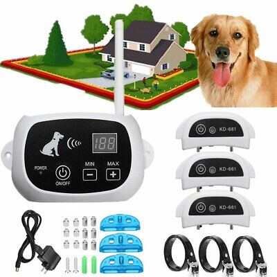 Waterproof Wireless Rechargeable 3 Dog Pet Fence Containment System TransmitteBA