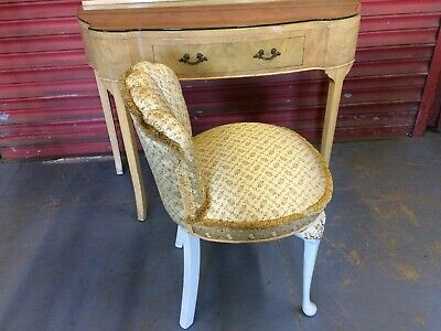 Walnut Art Deco desk/dressing table and chair.