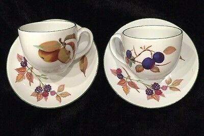 Royal Worcester EVESHAM VALE 2 Cup & Saucer Sets GREAT PREOWNED CONDITION