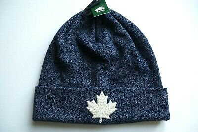 ROOTS CANADA Snowy Fox Navy Blue Cascade Maple Leaf TOQUE Beanie Hat UNISEX NEW