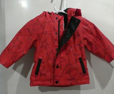 Next Girls Baby Red With Black Stars Hooded Raincoat Age 9-12 Months