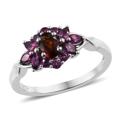 Cluster Ring Silver Citrine Rhodolite Garnet Jewelry for Women Size 5 Ct 1.1