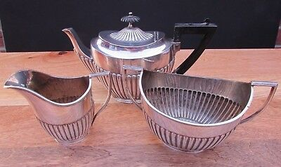 Reduced Antique James Dixon & Sons Epbm Silver Plated 3 Piece Tea Set Bargain