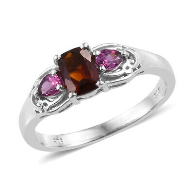 Statement Ring Silver Platinum Plated Citrine Rhodolite Garnet Gift Size 5 Ct 1