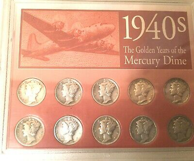 1940's Golden Years Of The Mercury Dimes Set Of 10