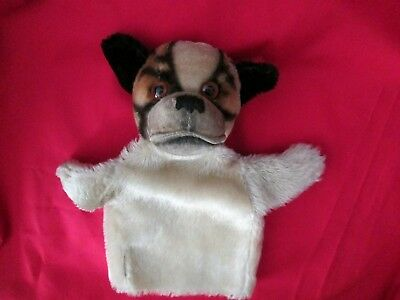 Vintage Steiff Hand Puppet Dog Bully Bulldog Mohair Made in Germany Glass Eyes