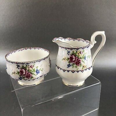 Vintage Royal Albert Petit Point Bone China Creamer & Sugar England Cream Bowl
