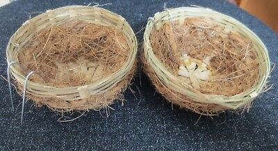 2 x WICKER AND COCONUT FIBRE NEST PANS - WOVEN NESTS