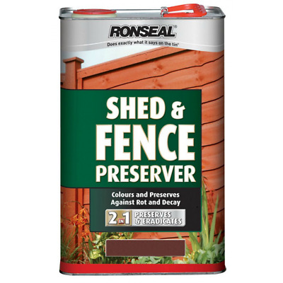 Ronseal Shed & Fence Preserver 2 in 1 Wood Protection - 5 Litre