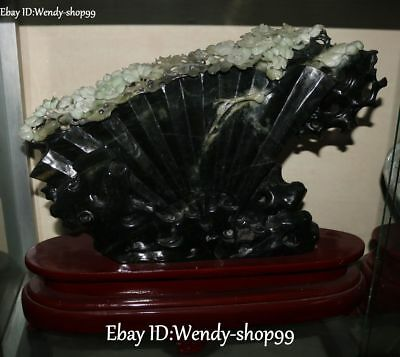 """17"""" Pure Hand Natural Dushan Jade Carved  Flower Tree Trunk Fan Screen Statue"""