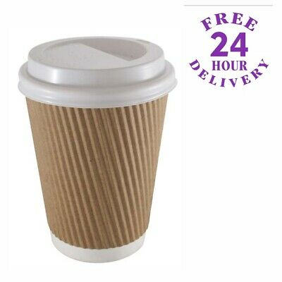 50 x 20oz Disposable Paper Coffee Cups & White Sip Lids Kraft Ripple Hot Drinks
