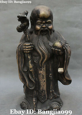 """14"""" Chinese Old Silver Stand longevity Shouxing God Crutch Gourd Peach Statue"""