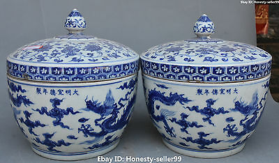 """10"""" Marked Chinese White Blue Porcelain Dragon Loong Pot Jar Crock Pair Statue"""