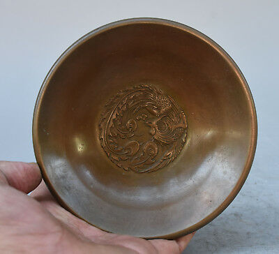 Marked China Palace Pure Copper Bronze Carving Dragon Phoenix Statue Tray Plate