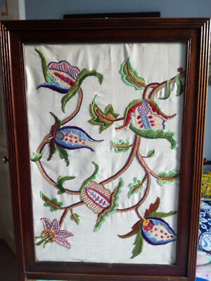 Reduced:regency Triple Leaf Fire Screen-Jacobite Style Embroider On Front Screen