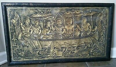 AngKor Wat Temple Stone Rubbing Art Framed Gold Black 30""