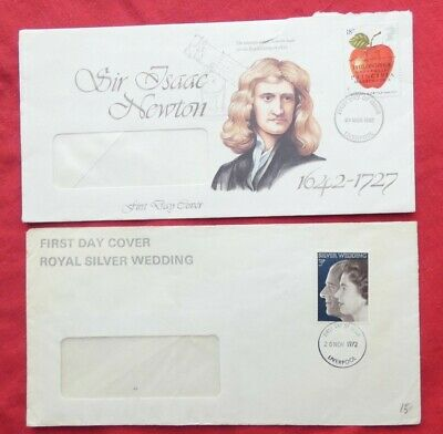 A Collection of 5 First Day Covers - Royal Silver Wedding, Sir Issac Newton etc