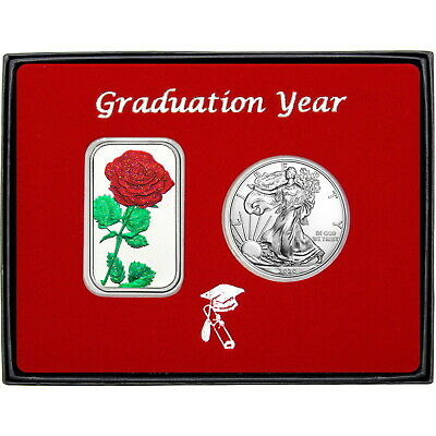 Graduation Year Red Rose Enameled Silver Bar & Silver American Eagle 2pc Set