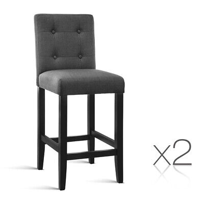 2 x Wooden Bar Stool French Provincial Fabric Barstool Chair Charcoal