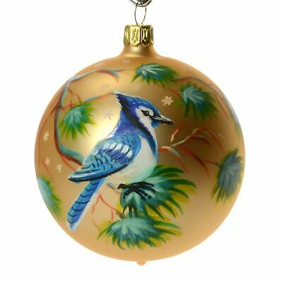"""""""Bluejay"""" Hand Painted Christmas Ball"""