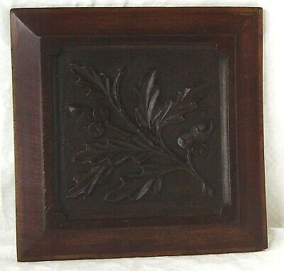 Antique Relief Carved Wood Square Panel Of Oak Leaves & Acorns