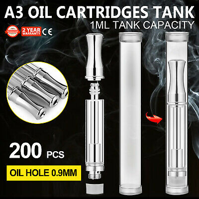 60 Pack A3 Oil Cartridges Tank 1ml Dual Coil Sturdy Stainless Cotton Coil