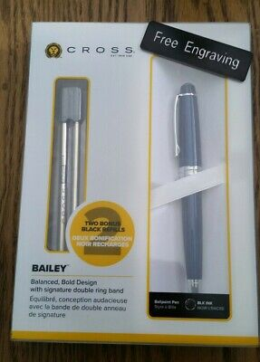 FREE ENGRAVING (PERSONALIZED) Cross Bailey Blue Ballpoint Pen with Refills
